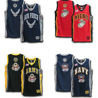 Military Sports Team Basketball Jerseys-Marine Corps, Navy, US Air Force, Army