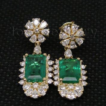 14KT Yellow Gold Natural Real Diamond Emerald Earrings
