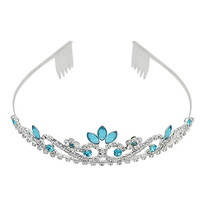 Silver Tiara with Crystals and Sky Blue Rhinestones