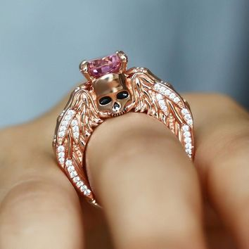 Fashion Skull Ring Rose Gold Color CZ Ring