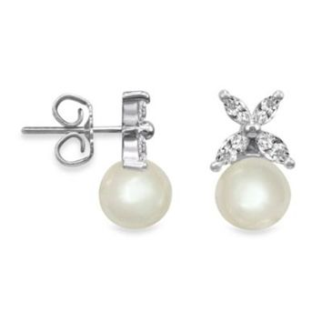 Majorica 8MM White Round Simulated Pearl Butterfly Stud Earrings in Sterling Silver
