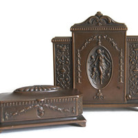 Jennings Brothers Bronze Desk Set Antique Victorian Art Nouveau Letter Holder and Stamp or Coin Box Neoclassical Home Decor Desk Accessories