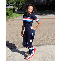 '' Champion '' Women Fashion Casual Pattern Letter Print Short Sleeve Set Two-Piece Sportswear