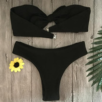 Sexy pure black strapless chest knot two piece bikini