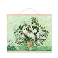 Modern Impressionism Vincent Van Gogh Rose Flower Vase A4 Art Print Poster Wall Picture Canvas Oil Painting No Framed Home Decor