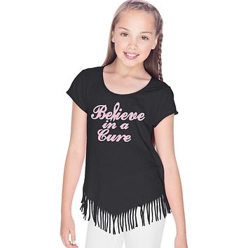 Girls Breast Cancer T-shirt Believe in a Cure Fringe Tee