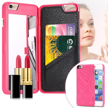 I6 Deluxe Back Case Girl Woman Fashion Mirror Cover For Iphone 6 4.7inch Hard Plastic+PU Leather Card Slot Slim Protective Skin