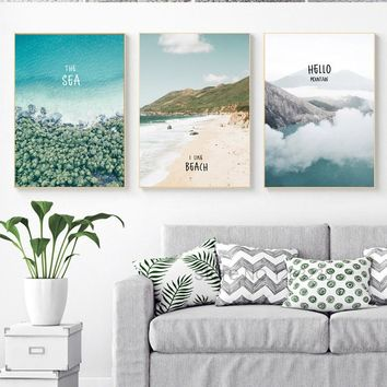 Sea Mountain Posters Wall Art Canvas Painting Scenery Cuadros Nordic Poster Leaf Picture Wall Pictures For Living Room Unframed