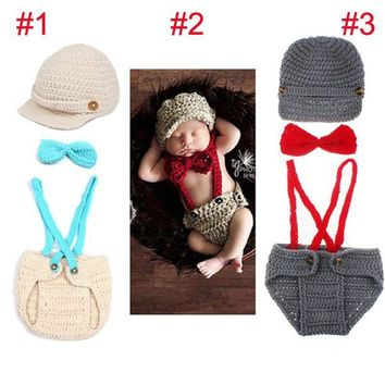 Little Gentleman Outfit Knitted Baby Beanie Hat with Suspenders Bow Tie Set Bebe Boy Newborn Photography Props Hat 1set H194
