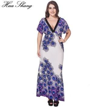 Women Summer V Neck Short Sleeve Casual Long Dress Elegant V Back High Waist Peacock Feather Print Bohemian Dress 6XL Plus Size