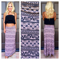 Swirl And Curl Paisley Maxi Skirt - TAUPE