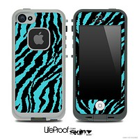 Turquoise Zebra Print Skin for the iPhone 5 or 4/4s LifeProof Case