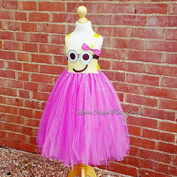 Minion Pink and Yellow Tutu Dress. Despicable Me 3. Handmade pink minion dress. Birthday Party. Pink Minion. Yellow Minion.  Minion Dress.