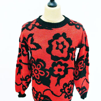 Vintage 1980s Psychedelic Harlequinn Red Black Goth Indie Sweater Jumper Small