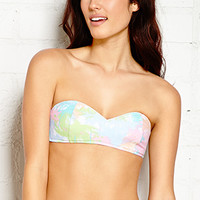 FOREVER 21 Pastel Palms Sweetheart Bandeau Pink/Multi Large