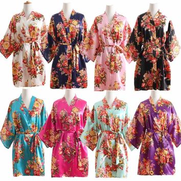 Women Silk Satin Wedding Bride Bridesmaid Robe Floral Bathrobe Short Kimono Robe Night Robe Bath Robe Fashion Dressing Gown R103