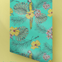 Hibiscus and Parrot Wallpaper Pattern - Removable Wallpaper - Tropical Wallpaper - Wall Sticker -Exotic Wall Decal - Self Adhesive Wallpaper