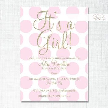 Custom Personalised Baby Shower Invitation Printable Digital Polka Dots Spots Pink White Gold or Silver Glitter Birthday Party Invite Girl