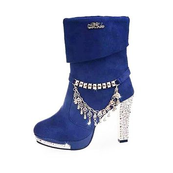 Women shoes Autumn Mid-Calf Boots Solid Metal Tassel high Heels Fashion Martin Boots
