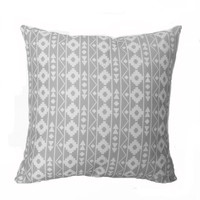 Grey and White Aztec Print Throw Pillow, 14x14, Dorm Decor – Pillow Insert Included