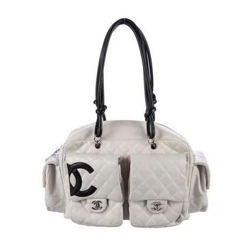 Chanel white large ligne cambon reporter bag