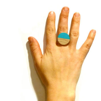 Turquoise statement ring, round wood ring, lightweight ring, adjustable ring, teal ring, colorblock jewelry