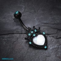 Blackline Crowned Opalite Heart Belly Button Ring