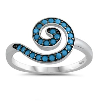 Spiral Journey Blue Turquoise Stone Ring Size 5-10 in .925 Sterling Silver