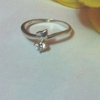 Romantic heart ring with white cubic zirconium , recycled 925  silver , Valentines Day Gift , silver heart ring