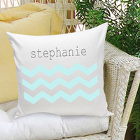 16x16 Family Name Throw Pillows - Chevron Blue