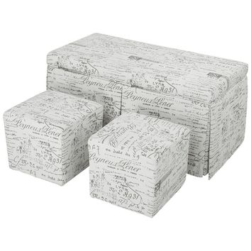 Beige 3-Piece French Script Patterned Fabric Storage Bench