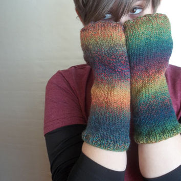 Fingerless gloves long knitted armwarmers in multi-colored light weight yarn for year round wear