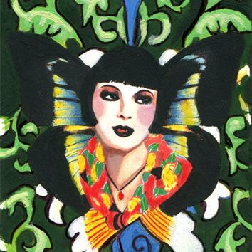 butterfly fairy flapper girl original aceo atc art painting miniture acrylic paintings deco Elizavella