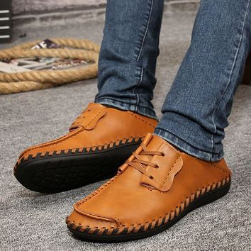 Mens Leather Lace Up Shoes Driving Moccasins Sneakers