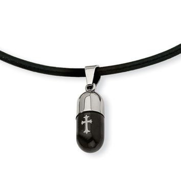 Stainless Steel Etched Black IP-plated Cross Capsule 18in Necklace SRN330