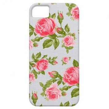 Girly Cottage Chic Romantic Floral Vintage Roses iPhone 5 Cases from Zazzle.com