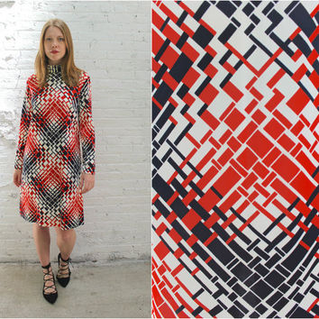 60s mod turtleneck mod dress / red and black geometric print long sleeve shift dress / minimalist sheath dress