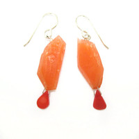 Coral Earrings, Sterling Silver Earrings, Geometric Jewelry, Modern Earrings, Genuine Coral, Faceted Earrings, Peach Jewelry, Lightweight