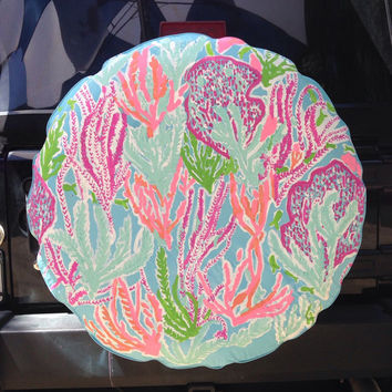 Coral Lilly Inspired Tire Cover