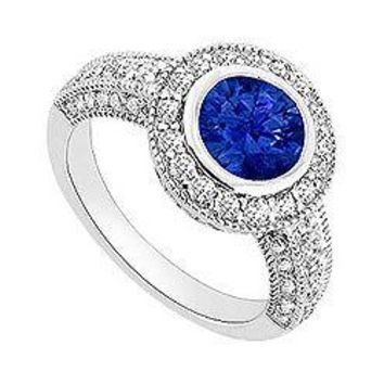 Sapphire and Diamond Halo Engagement Ring : 14K White Gold - 1.75 CT TGW