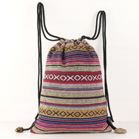 Gold Southwest Drawstring Backpack, Make up bag, Shoe Bag, Getaway bag Latin textile