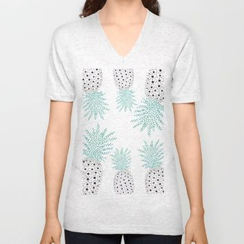 Pineapple Pattern Unisex V-Neck by ES Creative Designs