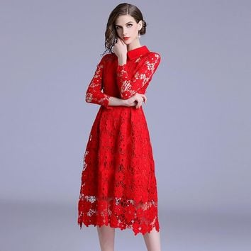 BLLOCUE High Quality New Fashion Runway 2018 Red Lace Autumn Dress Women's Peter pan Collar Sexy Hollow Out Dress