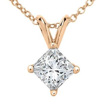 Princess Cut Diamond Solitaire Pendant in Rose Gold