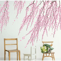 Elegant Cherry Blossom Wall Decal Cherry Wall Art Removable Vinyl Cherry Blossoms Wall Sticker for living room tree Branch stickers