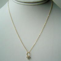 Genuine Diamond Beads Pendant Necklace 14K Gold by queeniejewels