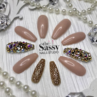 Naked Gold Glitter Bling Fake Nails| False Nails| Hand Painted Nails| Bling Nails| Drag Nails| Coffin Nails| Press On Nails| Glue On Nails|