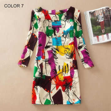 Plus Size Women Clothing  Spring Fall Fashion Flower Print Women Dress Ladies Long Sleeve Casual Autumn Dresses Vestidos