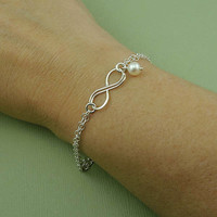 Silver Infinity Bracelet - sterling silver jewelry - bridesmaid gift - wedding jewelry - christmas gift idea
