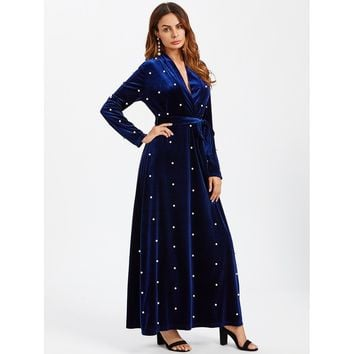 Pearl Beaded Surplice Wrap Plunging Velvet Dress Navy